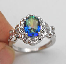 18K White Gold Filled - Oval Blue MYSTICAL Topaz Butterfly Cocktail Ring Size 9