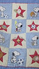 Snoopy Peanuts sports baby crib blanket quilt Lambs & Ivy Woodstock Little Champ