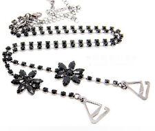 GORGEOUS Diamante Bra Straps single Row Black Stones with Flowers Design