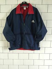 URBAN VINTAGE RETRO OLD ADIDAS NAVY BLUE ATHLETIC COAT JACKET D7 SIZE UK LARGE