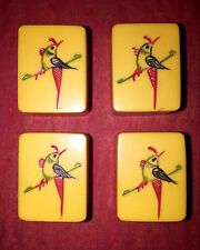 TWO TONE 2 MAH JONG BAKELITE/CHERRY RED WAFER BACKS 144 HAND CARVED TILES RARE