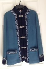 FJORD FASHION (by A.S. Evebofoss, Norway) BLUE WOOL JACKET, Ladies EU 44 = US 14