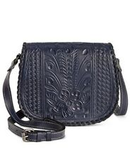 New Patricia Nash Tooled Leather Navy Blue Salerno Flap Crossbody Bag Small