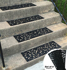 Traction Control Non-Slip Rubber Unique Stair Tread Black Mats Set of 4