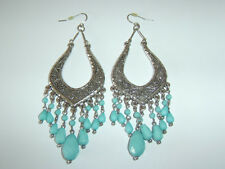 Large Chunky Ethnic Native American Turquoise Engraved Silver Engraved Earrings