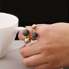 NEW 2016  GOLD PLATED BEANS & CRYSTAL GLITTER BALLS 18mm FASHION STRETCHFIT RING