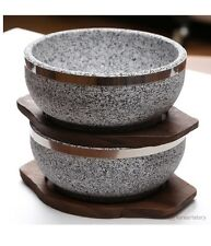 Korean stone Bowl With 2 Wooden Bases