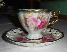 VINTAGE STAFFORD CHINA PINK IRIDESCENT FLUTED TEACUP & LACE SAUCER FAST SHIP!