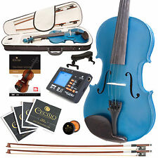 CECILIO SIZE 4/4 SOLIDWOOD STUDENT VIOLIN METALLIC BLUE +TUNER+BOOK