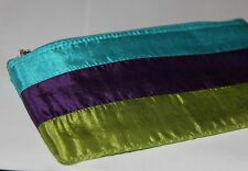 Tri-Color Silk Cosmetic Bag Make Up Pouch Green Purple Blue 1118