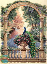 Cross Stitch Kit Gold Collection Majestic Peacock in Marble Archway #35110