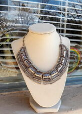 Great Vintage Ethnic Silver Etruscan Bib Necklace with Dangles 71.3 Grams