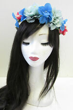 Blue Coral Rose Hydrangea Flower Hair Crown Headdress Boho Vintage Headband U37
