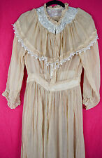 c 1910 Edwardian Sheer Day Tea Dress w Lace Yoke Tall Size Antique Vintage