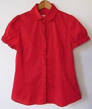 Zara basic short sleeve cotton blend red button down top blouse sz XL