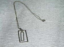 Estate 925 Sterling Silver Hallmarked Chain with Concentric Rectangle MODERNIST