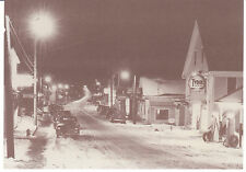 Postcard Damariscotta Maine Christmas Main Street Tydol Service Station Old Cars