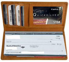 Tan  Solid Leather Slim Checkbook Cover Organizer Wallet CB903 ID Money Holder