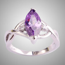 Noble Marquise Cut Amethyst White Topaz Purple Gemstone Silver Ring Size 9