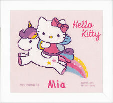Kitty and Unicorn : Birth Record : Vervaco Counted Cross Stitch Kit  - PN0156716