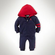 New Baby Boys Ralph Lauren Cotton Hoodie&Pant Set-Size: 6M
