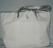Ralph Lauren White Big Pony Canvas Large Tote Gym Bag Weekender Travel Bag NEW