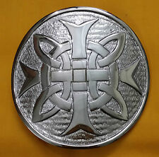"TE Celtic Cross Kilt Belt Buckle Chrome Finish 3""/Celtic Kilt Belt Buckle Round"