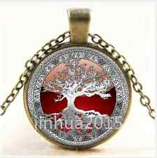 NEW Vintage Celtic Silver/Red Tree Of Life Glass Cabochon Bronze Chain Necklace/
