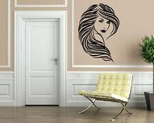 Beautiful Girl Wavy Hair Salon Wall Decor Mural Vinyl Decal Art Sticker M097