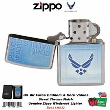 Zippo US Air Force Emblem & Core Values Lighter, Street Chrome, Windproof #28622