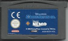 MONSTERS EN CO. & FINDING NEMO for Game Boy Advance GBA (2 games in 1)