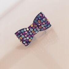 Topshop Multicoloured Diamanté Bow Ring.