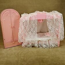 Barbie Doll Sweet Roses Wardrobe & Starlight Canopy Lighted Bed Lace Pink Vtg