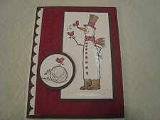 Stampin Up Card Handmade Christmas Winter Tall Snowman with cardinals - KIT