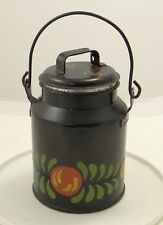 Black Heavy Tin Toleware Canister w Removable Top Fruit Green Leaves Kitchen