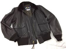 Vintage COOPER G-1 USN Brown Goatskin Leather Bomber Flight Jacket 44 Long L/XL