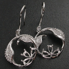 SEMI-MOUNT PEAR 5x3 MM SILVER CASTING WITH ACCENT WHITE CZ EARRING 4.25 GRAMS