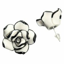 1 Pair Women's Fashion Ear Stud Earring Black With White Rose Flower