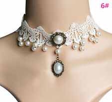 Womens Queen Steampunk Style Gothic White Lace Collar Choker Necklace