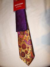 DUCHAMP -LONDON FAB GOLD/PURPLE/TAN PAISLEY SLIM SILK TIE + POCKET SQUARE SET