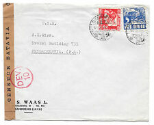 Dutch Indies Bandoeng Java WWII Batavia Censor Tape 1940 Commercial Cover to US