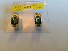 "14K YELLOW GOLD ""HUGGIE"" STYLE EARRING WITH DIAMOND AND EMERALD"