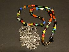 """Multi Color Glass Beaded Necklace with Silver large owl pendant 17"""""""