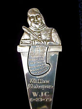 William Shakespeare Book Mark,Sterling Silver,Gold Embossed Blue Case