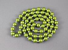 """layering necklace beaded faux pearl 28"""" long silver necklace bead Buy2get2FREE"""