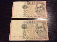 ITALIA BANCONOTE 1000 LIRE 1982 2 Note