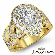 Halo Pave Set Pear Cut Diamond Engagement Ring GIA F VS1 18k Yellow Gold 2.79ct