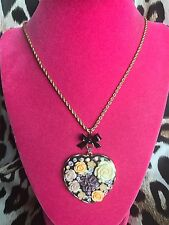 Betsey Johnson Fabulous Flowers Lucite Purple Yellow Rose Heart Long Necklace