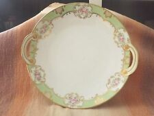 """Vintage Nippon China Handpainted plate - green, gold trim w/roses, handles - 10"""""""