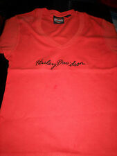 NEW HARLEY DAVIDSON WOMENS MISSES S/S EMBROIDERED T SHIRT-ORANGE-XL X-LARGE